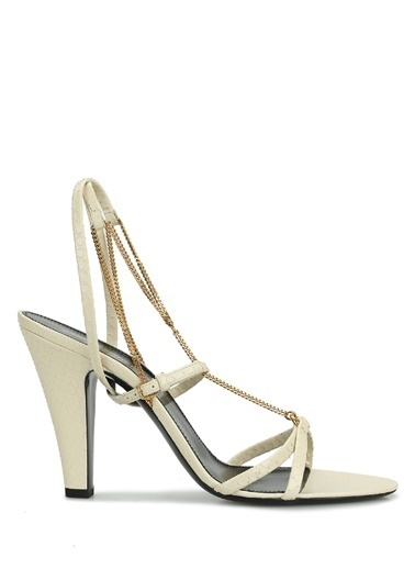 Saint Laurent Saint Laurent  Zincir Detaylı Kadın Sandalet 101621927 Krem